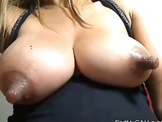 Beautiful Blonde Shows Her Natural Jiggly Tits With Lactating Nips
