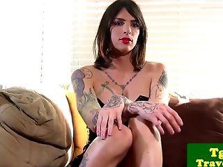 Tattooed Inexperienced Tranny Wanking Off