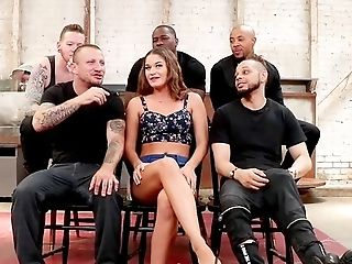 Gang-fuck Activity And Severe Facial Cumshot For The Big-titted Whore