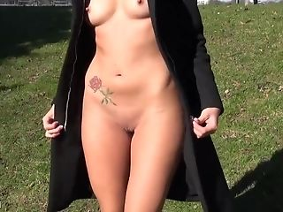 Horny German Blonde Flashing Her Naked Bod In The Park On Public