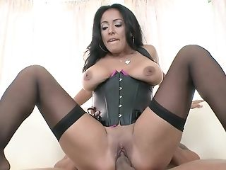 Buxomy Cougar With Large Pointy Nips Is In Her Corset, Humping