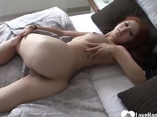 Red-haired Chick With Nice Tits Enjoyments Herself