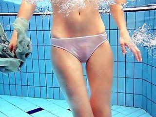 Slender Sandy-haired Honey Nastya Swimming In The Pool All Naked
