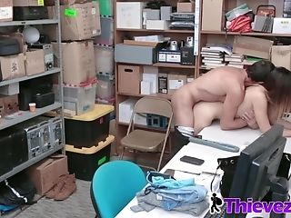 Exotic Guard Smashes Teenagers's Gash On Desk