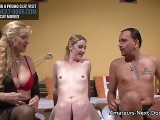 Pallid Blonde Fucks With An Older Swinging Duo