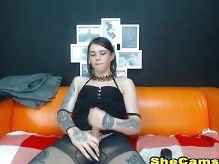 Tattooed Shemale Masturbate On Webcam