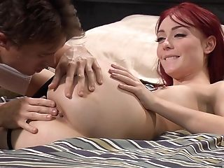 Flawless Ginger-haired Vixen Zoe Voss Rails A Big Hard Dick On The Couch