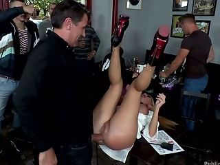 Russian Tourist Isabella Clark Is Banged By A Few Studs In The Bar