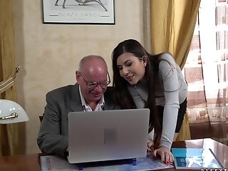 Horny Grandfather Ultimately Gets To Fuck Anya Krey While She Groans