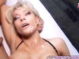 German Big Tits Blonde Threesome Mmf