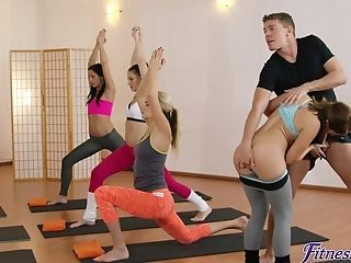 Sport Instructor Has A Three-way With Two Hot Women.